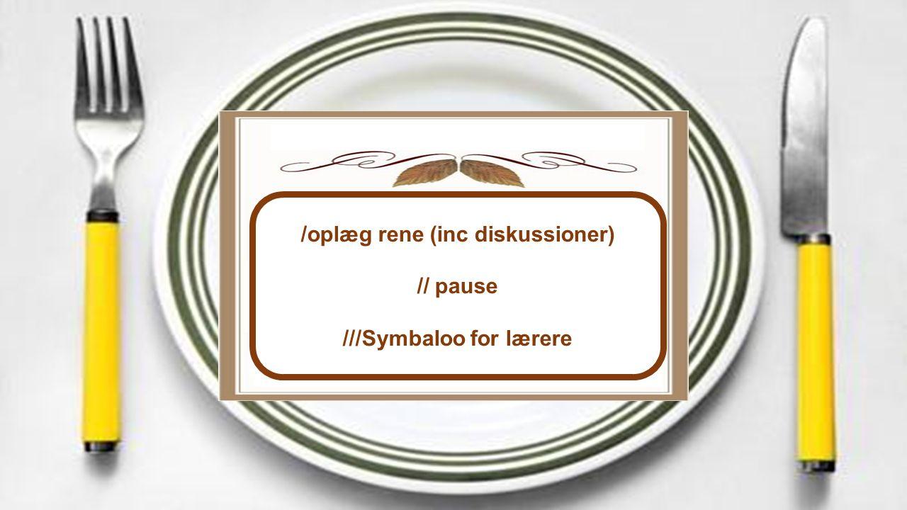 /oplæg rene (inc diskussioner) // pause ///Symbaloo for lærere