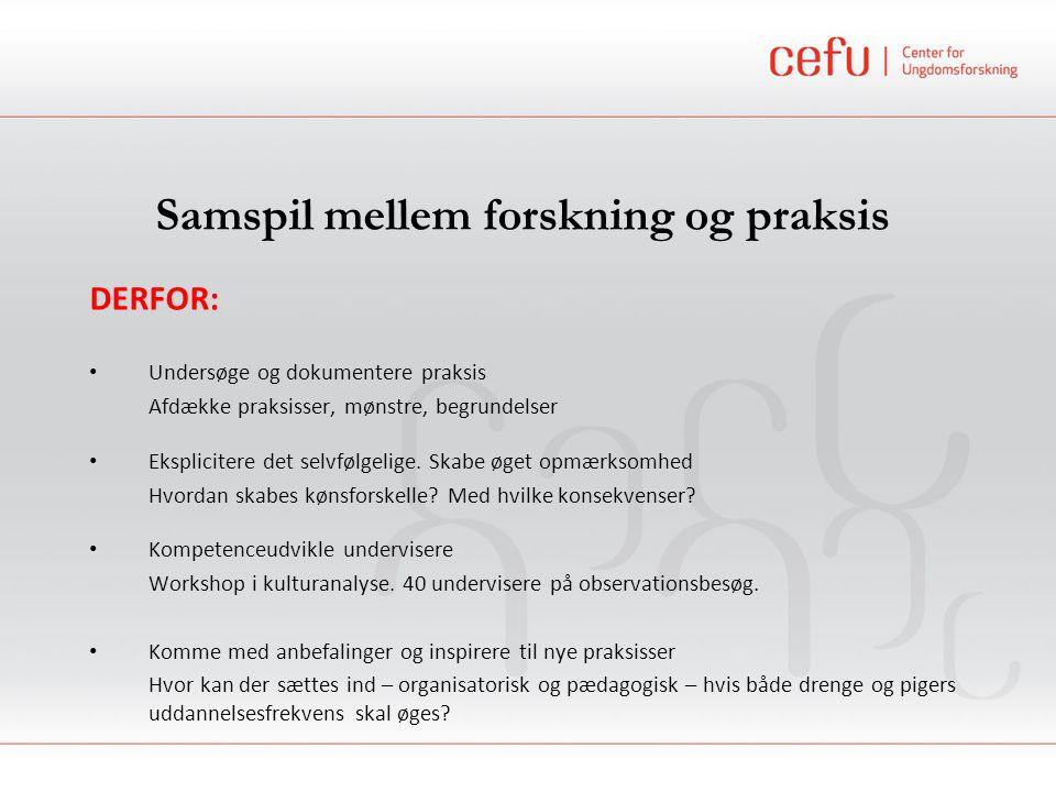 Samspil mellem forskning og praksis DERFOR: Undersøge og dokumentere praksis Afdække praksisser, mønstre, begrundelser Eksplicitere det selvfølgelige.