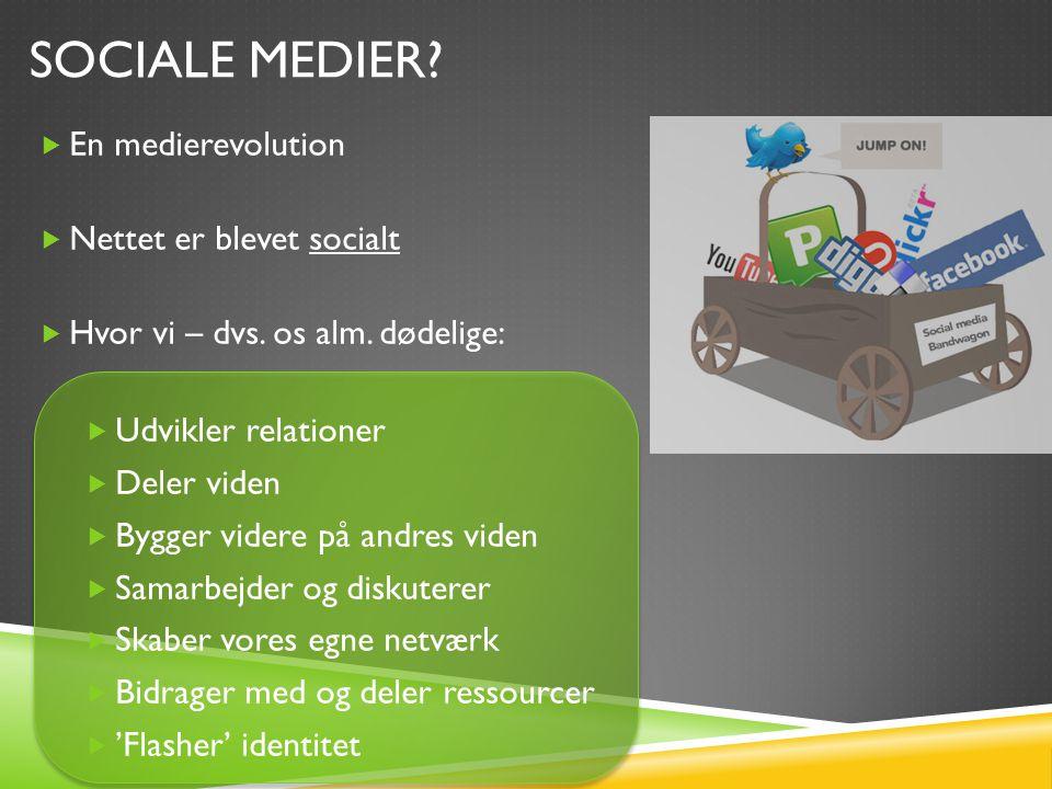 SOCIALE MEDIER.  En medierevolution  Nettet er blevet socialt  Hvor vi – dvs.