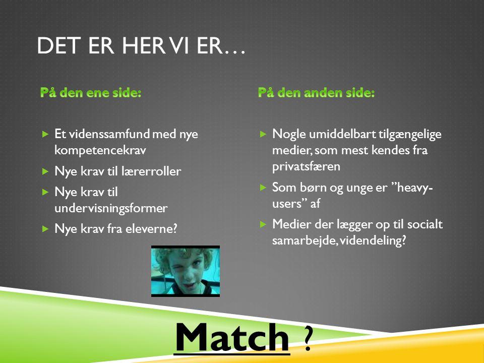 DET ER HER VI ER… Match