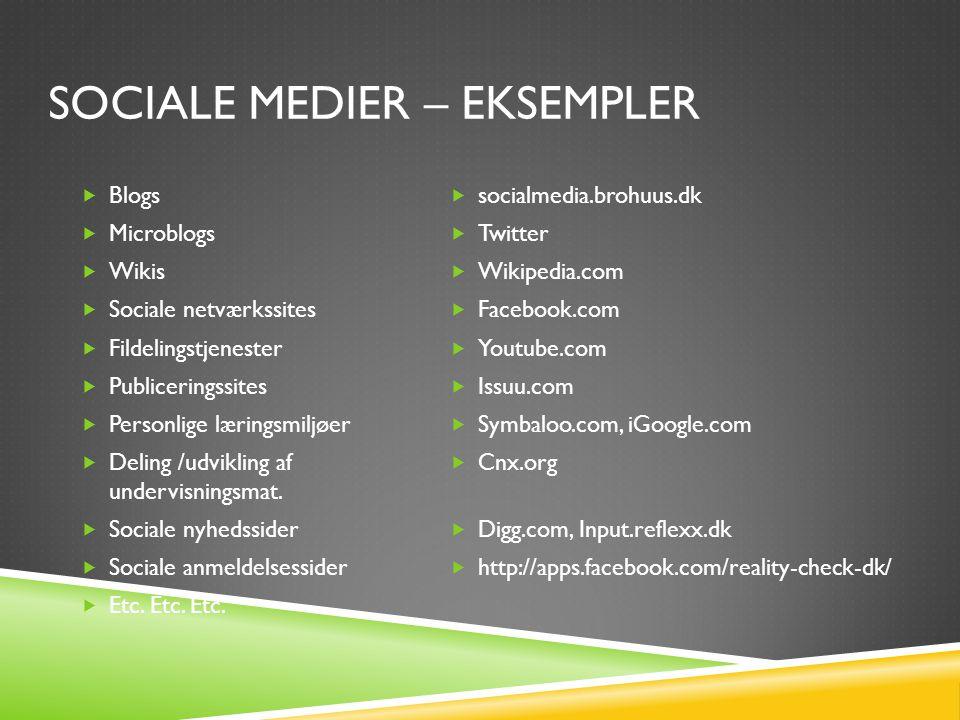 SOCIALE MEDIER – EKSEMPLER  Blogs  Microblogs  Wikis  Sociale netværkssites  Fildelingstjenester  Publiceringssites  Personlige læringsmiljøer  Deling /udvikling af undervisningsmat.