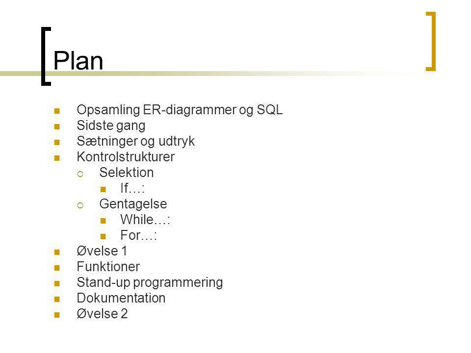 Plan Opsamling ER-diagrammer og SQL Sidste gang Sætninger og udtryk Kontrolstrukturer  Selektion If…:  Gentagelse While…: For…: Øvelse 1 Funktioner Stand-up programmering Dokumentation Øvelse 2