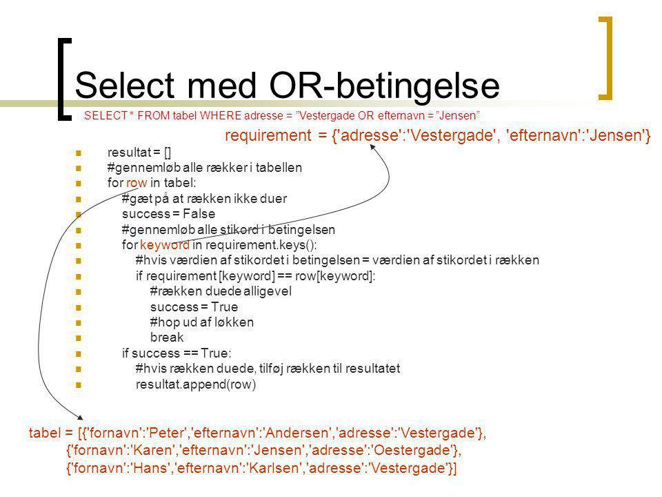 Select med OR-betingelse resultat = [] #gennemløb alle rækker i tabellen for row in tabel: #gæt på at rækken ikke duer success = False #gennemløb alle stikord i betingelsen for keyword in requirement.keys(): #hvis værdien af stikordet i betingelsen = værdien af stikordet i rækken if requirement [keyword] == row[keyword]: #rækken duede alligevel success = True #hop ud af løkken break if success == True: #hvis rækken duede, tilføj rækken til resultatet resultat.append(row) tabel = [{ fornavn : Peter , efternavn : Andersen , adresse : Vestergade }, { fornavn : Karen , efternavn : Jensen , adresse : Oestergade }, { fornavn : Hans , efternavn : Karlsen , adresse : Vestergade }] requirement = { adresse : Vestergade , efternavn : Jensen } SELECT * FROM tabel WHERE adresse = Vestergade OR efternavn = Jensen