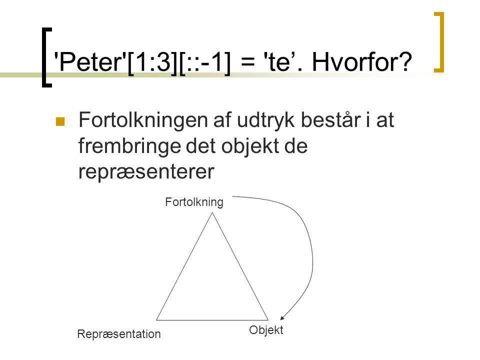 Peter [1:3][::-1] = te'. Hvorfor.