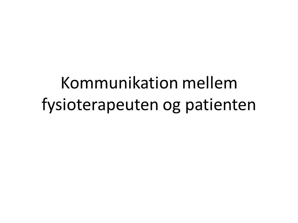 Kommunikation mellem fysioterapeuten og patienten