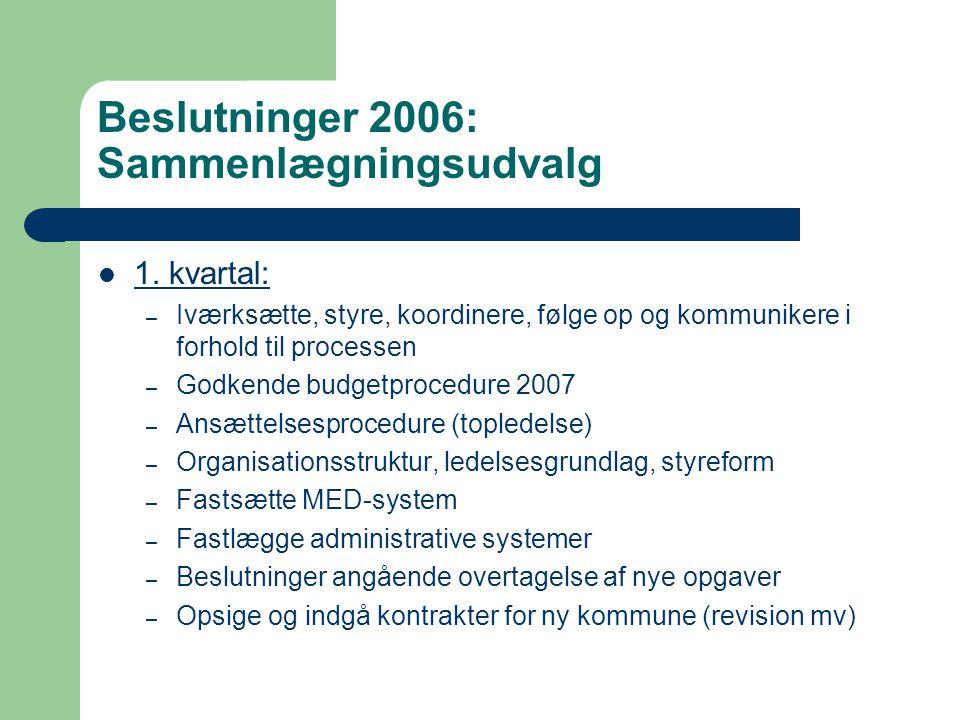 Beslutninger 2006: Sammenlægningsudvalg 1.
