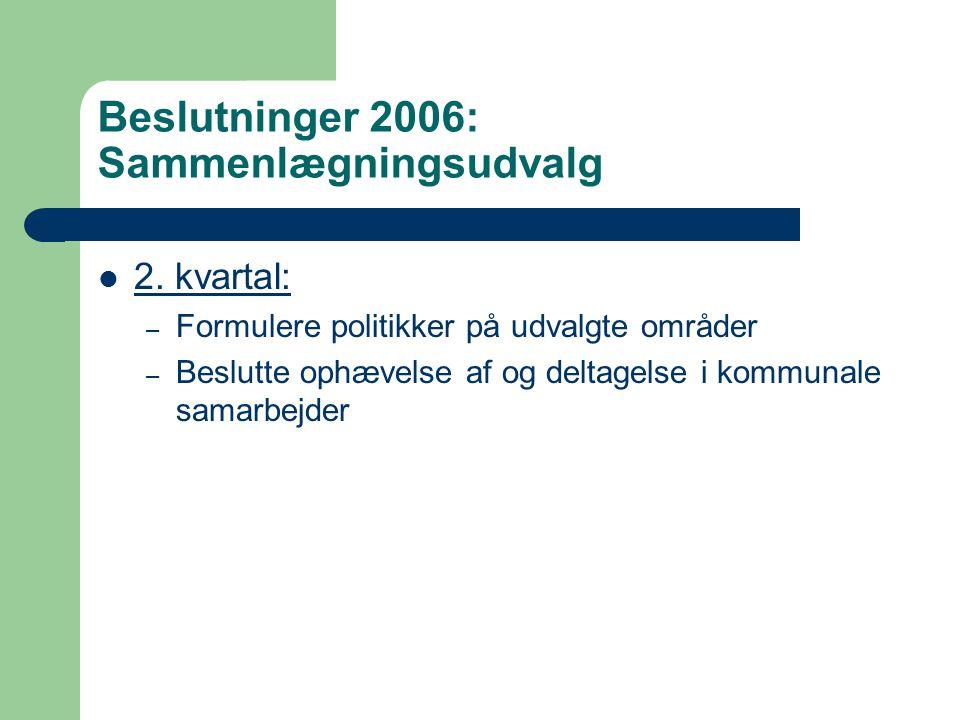 Beslutninger 2006: Sammenlægningsudvalg 2.