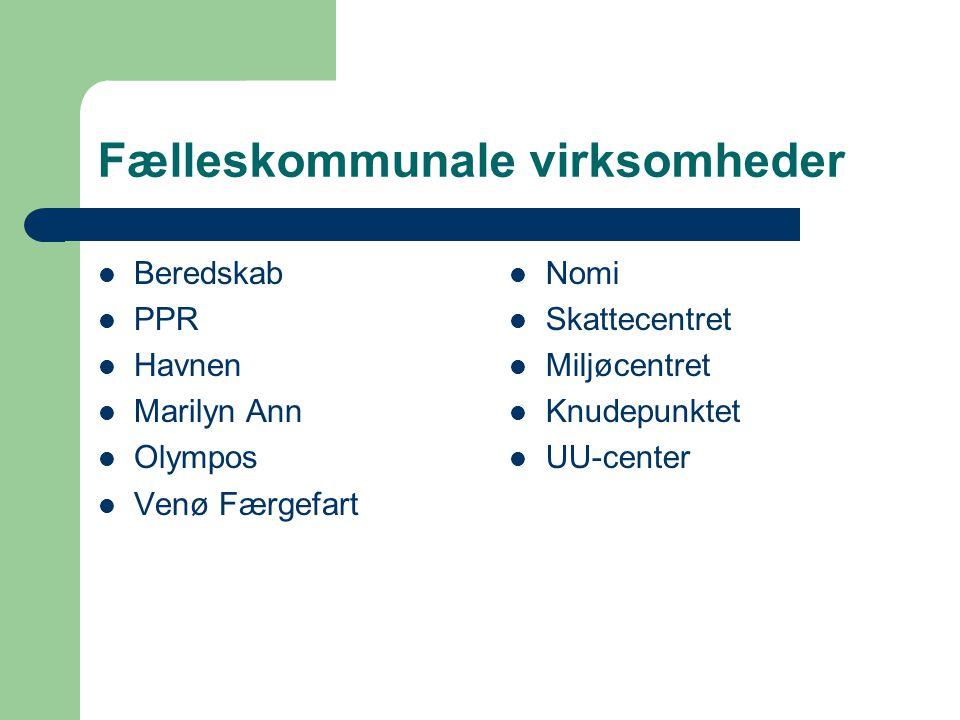 Fælleskommunale virksomheder Beredskab PPR Havnen Marilyn Ann Olympos Venø Færgefart Nomi Skattecentret Miljøcentret Knudepunktet UU-center