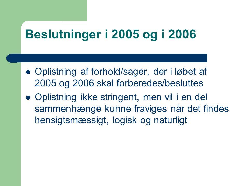 Beslutninger i 2005 og i 2006 Oplistning af forhold/sager, der i løbet af 2005 og 2006 skal forberedes/besluttes Oplistning ikke stringent, men vil i en del sammenhænge kunne fraviges når det findes hensigtsmæssigt, logisk og naturligt