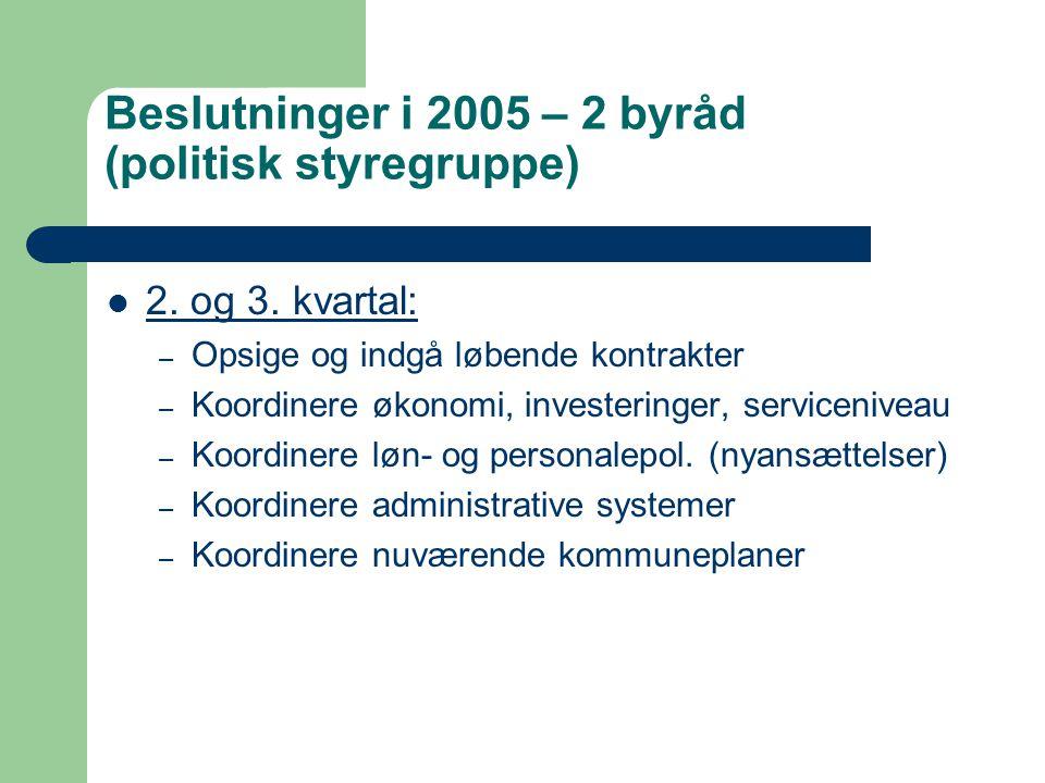 Beslutninger i 2005 – 2 byråd (politisk styregruppe) 2.