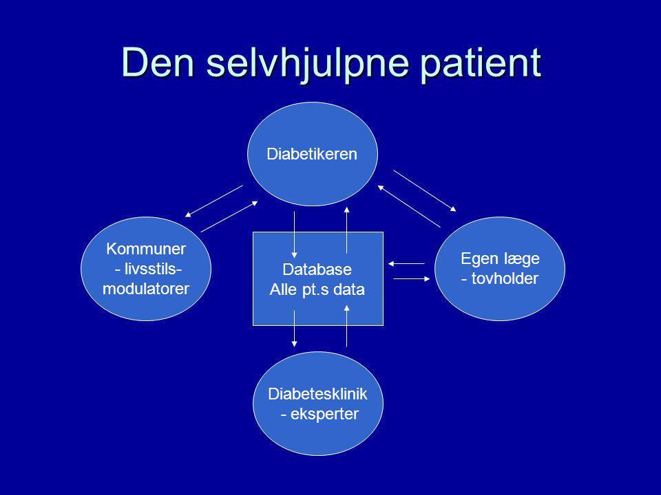 Den selvhjulpne patient Diabetikeren Diabetesklinik - eksperter Egen læge - tovholder Kommuner - livsstils- modulatorer Database Alle pt.s data