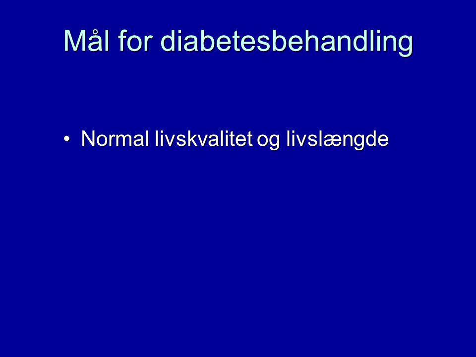 Mål for diabetesbehandling Normal livskvalitet og livslængdeNormal livskvalitet og livslængde