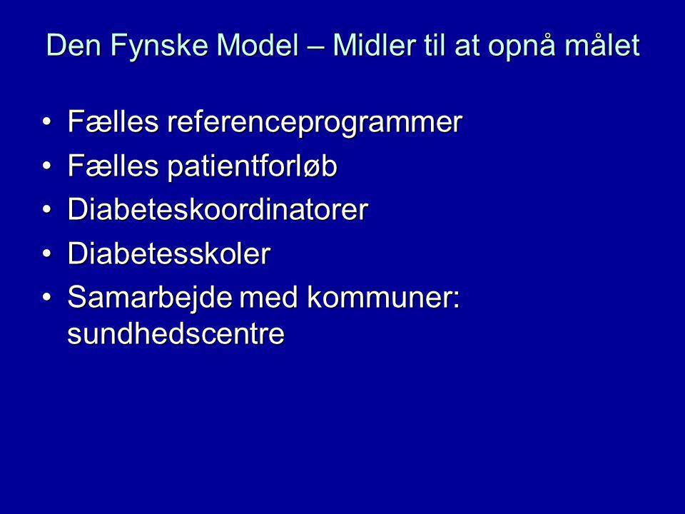 Den Fynske Model – Midler til at opnå målet Fælles referenceprogrammerFælles referenceprogrammer Fælles patientforløbFælles patientforløb DiabeteskoordinatorerDiabeteskoordinatorer DiabetesskolerDiabetesskoler Samarbejde med kommuner: sundhedscentreSamarbejde med kommuner: sundhedscentre