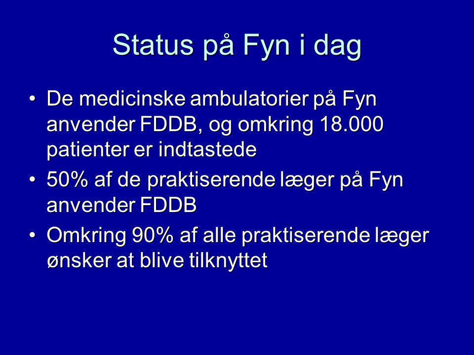 Status på Fyn i dag De medicinske ambulatorier på Fyn anvender FDDB, og omkring 18.000 patienter er indtastedeDe medicinske ambulatorier på Fyn anvender FDDB, og omkring 18.000 patienter er indtastede 50% af de praktiserende læger på Fyn anvender FDDB50% af de praktiserende læger på Fyn anvender FDDB Omkring 90% af alle praktiserende læger ønsker at blive tilknyttetOmkring 90% af alle praktiserende læger ønsker at blive tilknyttet