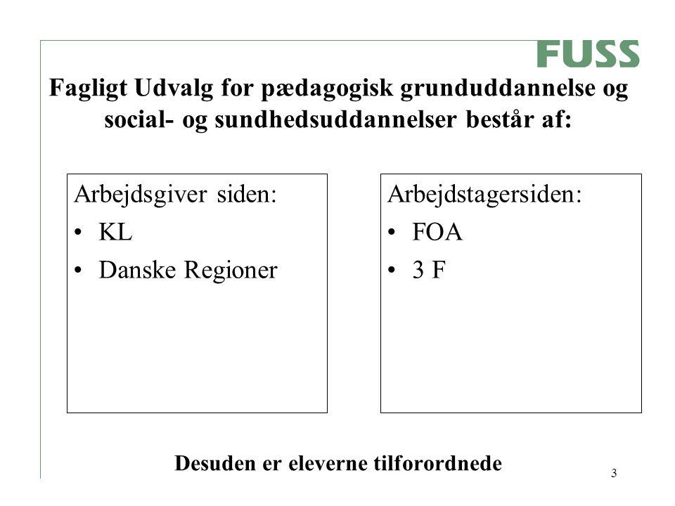 3 Fagligt Udvalg for pædagogisk grunduddannelse og social- og sundhedsuddannelser består af: Desuden er eleverne tilforordnede Arbejdsgiver siden: KL Danske Regioner Arbejdstagersiden: FOA 3 F