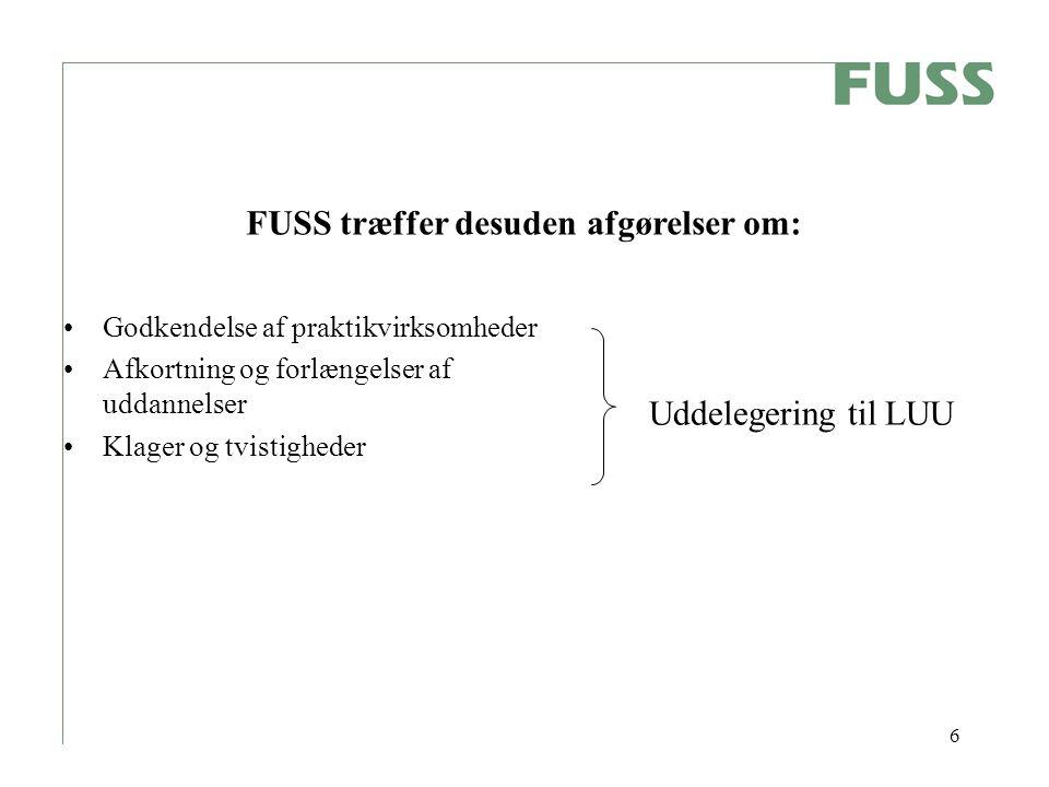 6 Godkendelse af praktikvirksomheder Afkortning og forlængelser af uddannelser Klager og tvistigheder Uddelegering til LUU FUSS træffer desuden afgørelser om: