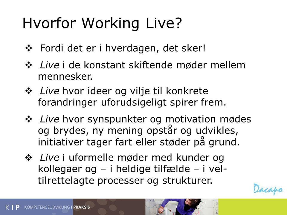 Hvorfor Working Live?  Fordi det er i hverdagen, det sker!  Live i de konstant skiftende møder mellem mennesker.  Live hvor ideer og vilje til konk