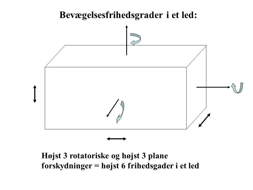 Bevægelsesfrihedsgrader i et led: Højst 3 rotatoriske og højst 3 plane forskydninger = højst 6 frihedsgader i et led