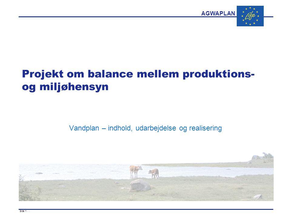 AGWAPLAN Side 1 · · Projekt om balance mellem produktions- og miljøhensyn Vandplan – indhold, udarbejdelse og realisering