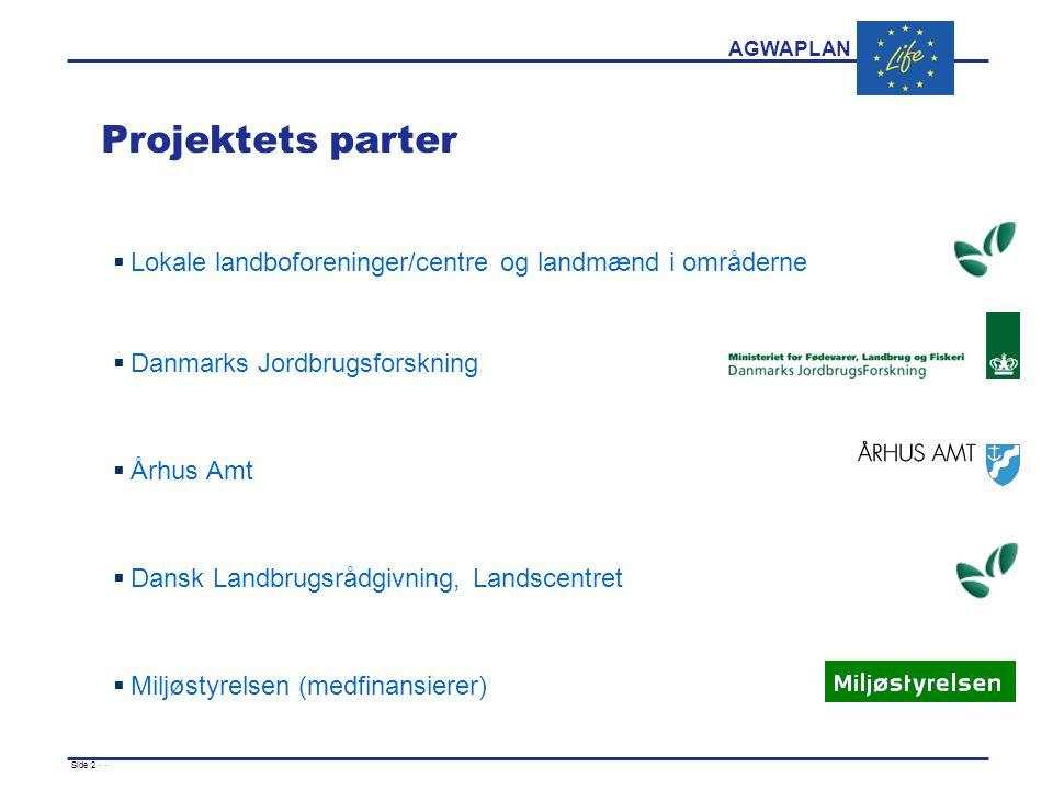 AGWAPLAN Side 2 · · Projektets parter  Lokale landboforeninger/centre og landmænd i områderne  Danmarks Jordbrugsforskning  Århus Amt  Dansk Landbrugsrådgivning, Landscentret  Miljøstyrelsen (medfinansierer)