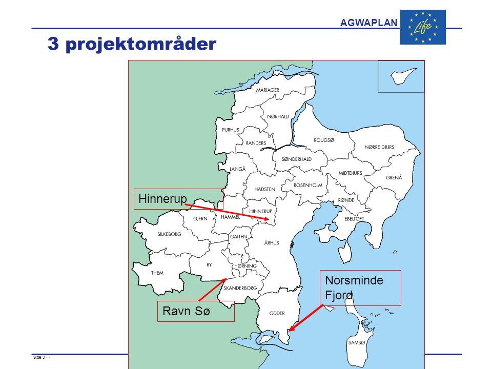 AGWAPLAN Side 3 · · 3 projektområder Norsminde Fjord Hinnerup Ravn Sø