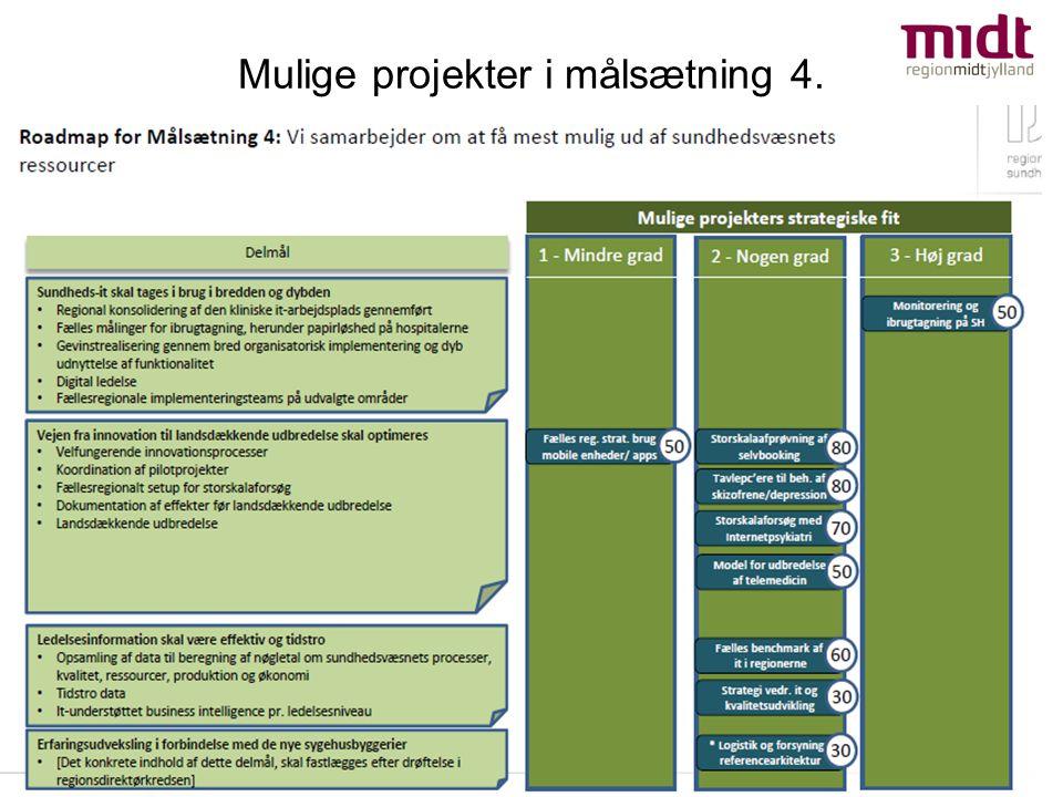 Mulige projekter i målsætning 4.