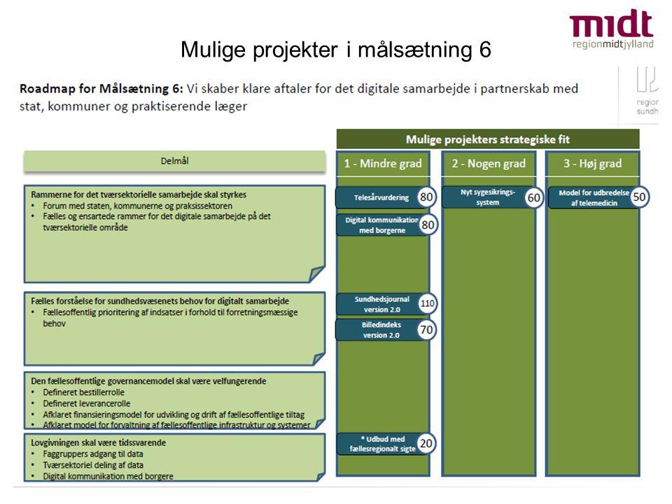 Mulige projekter i målsætning 6