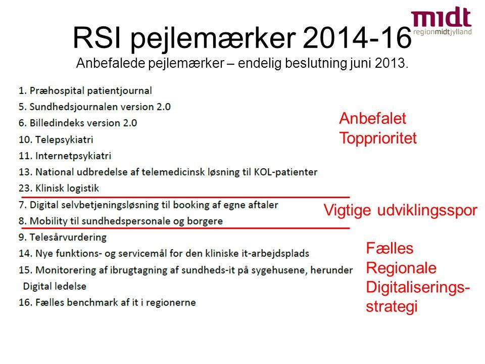 RSI pejlemærker 2014-16 Anbefalede pejlemærker – endelig beslutning juni 2013.