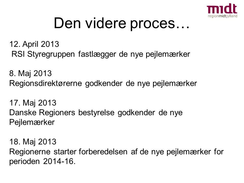 Den videre proces… 12. April 2013 RSI Styregruppen fastlægger de nye pejlemærker 8.
