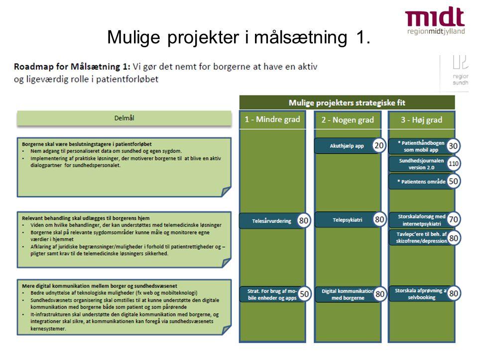 Mulige projekter i målsætning 1.