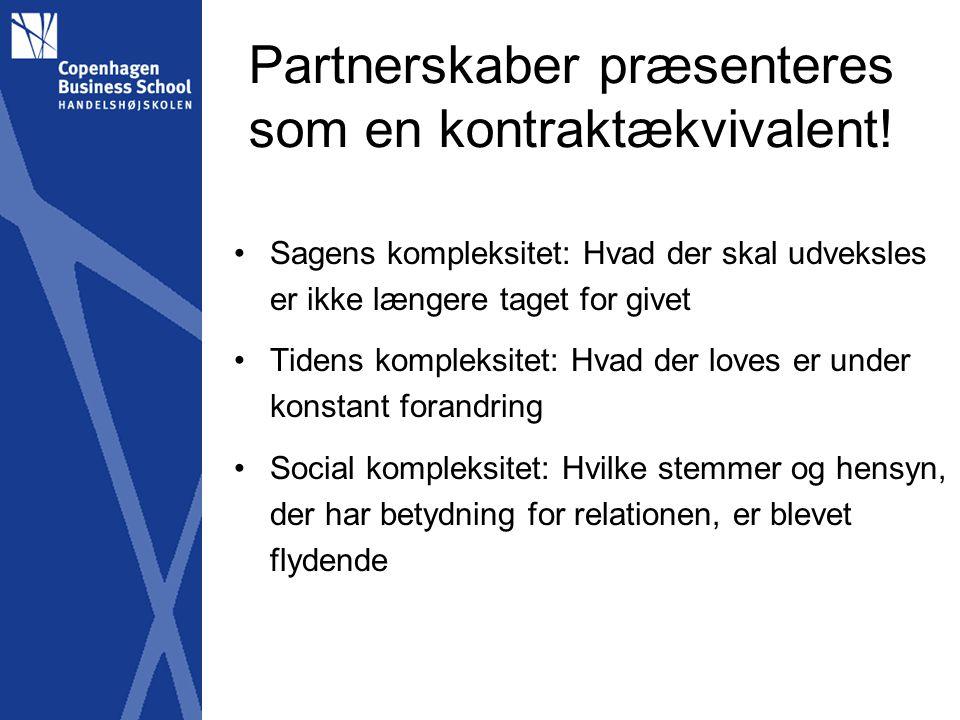 Partnerskaber præsenteres som en kontraktækvivalent.