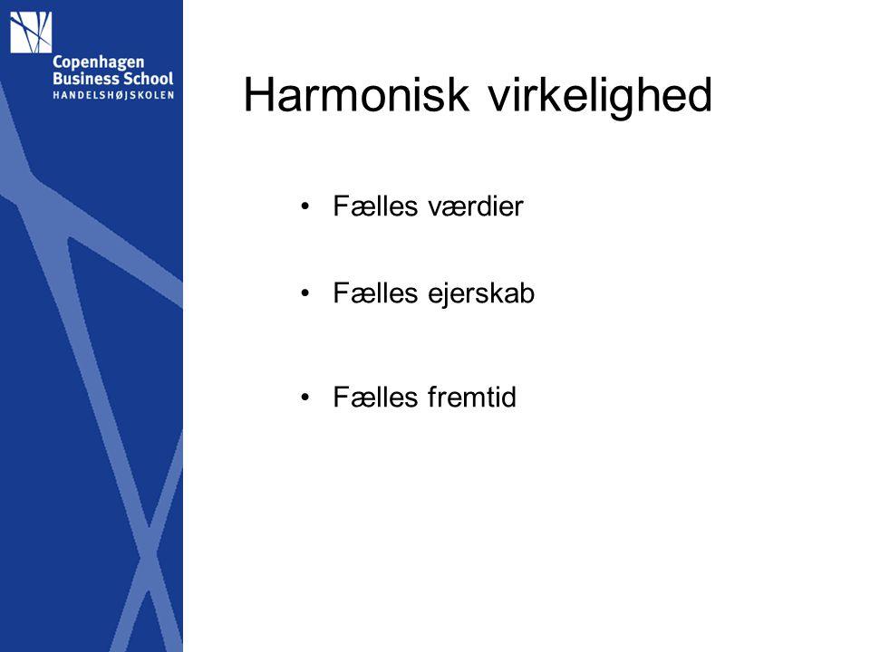 Harmonisk virkelighed Fælles værdier Fælles ejerskab Fælles fremtid
