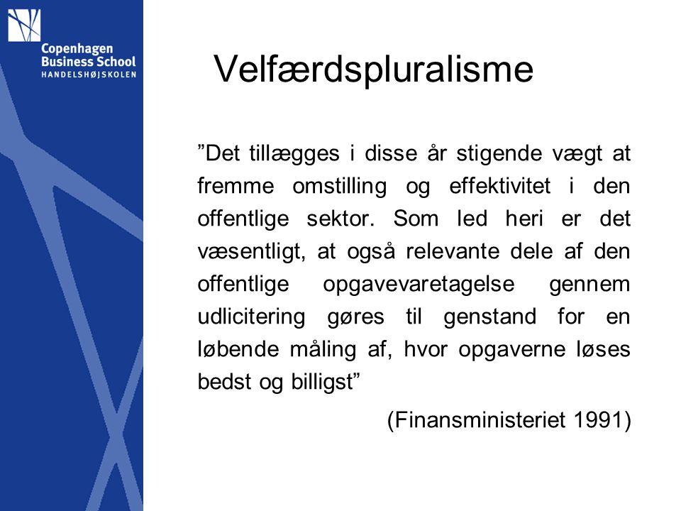 Velfærdspluralisme Det tillægges i disse år stigende vægt at fremme omstilling og effektivitet i den offentlige sektor.
