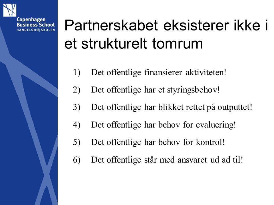 Partnerskabet eksisterer ikke i et strukturelt tomrum 1)Det offentlige finansierer aktiviteten.