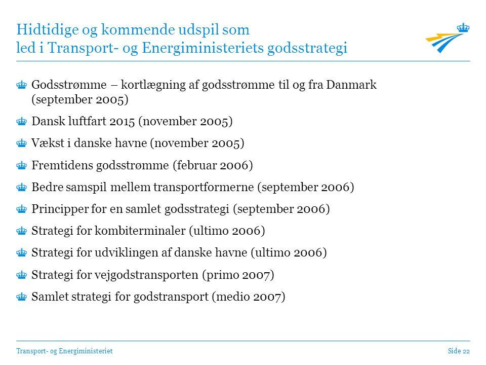 Transport- og EnergiministerietSide 22 Hidtidige og kommende udspil som led i Transport- og Energiministeriets godsstrategi Godsstrømme – kortlægning af godsstrømme til og fra Danmark (september 2005) Dansk luftfart 2015 (november 2005) Vækst i danske havne (november 2005) Fremtidens godsstrømme (februar 2006) Bedre samspil mellem transportformerne (september 2006) Principper for en samlet godsstrategi (september 2006) Strategi for kombiterminaler (ultimo 2006) Strategi for udviklingen af danske havne (ultimo 2006) Strategi for vejgodstransporten (primo 2007) Samlet strategi for godstransport (medio 2007)