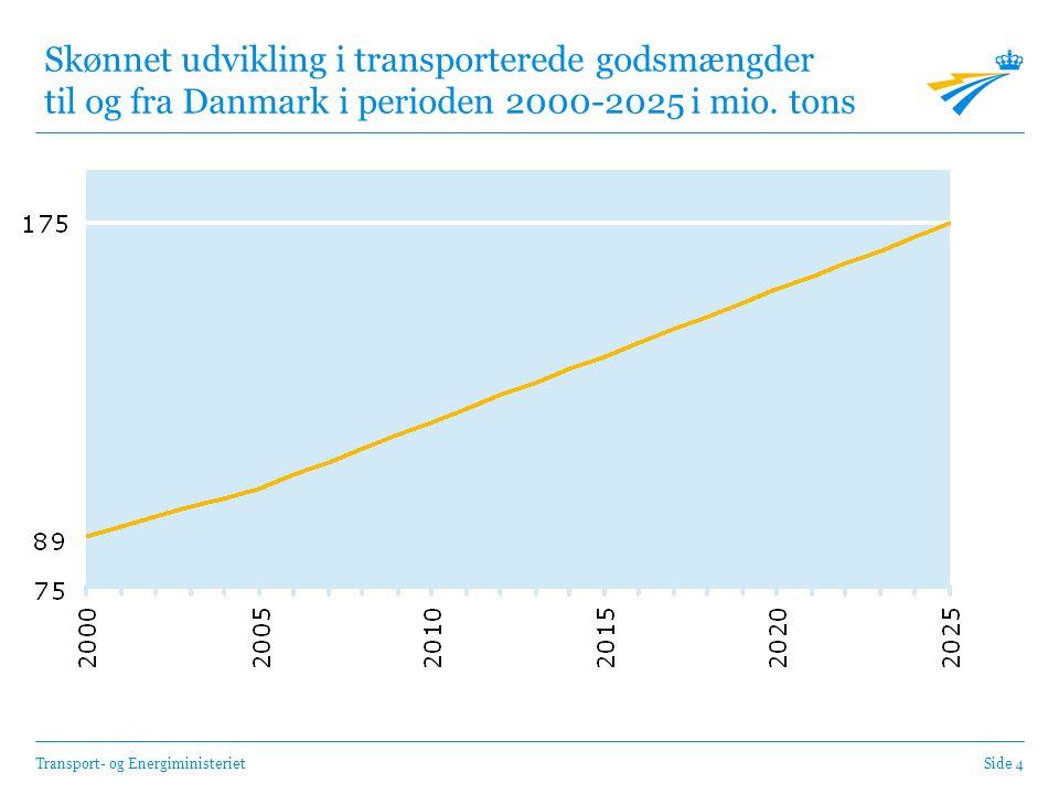 Transport- og EnergiministerietSide 4 Skønnet udvikling i transporterede godsmængder til og fra Danmark i perioden 2000-2025 i mio.