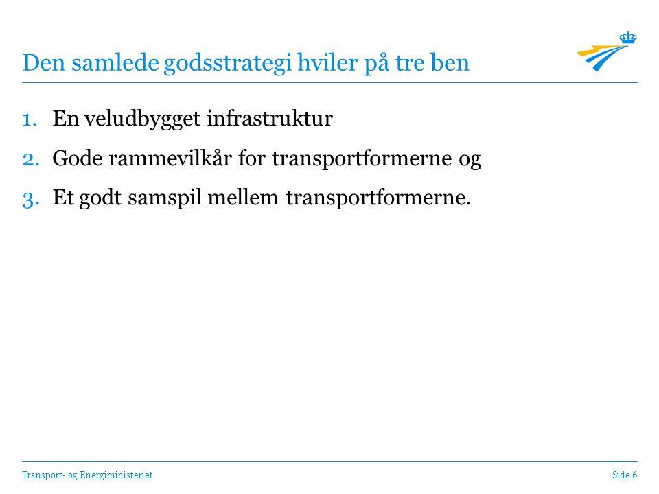 Transport- og EnergiministerietSide 6 Den samlede godsstrategi hviler på tre ben 1.