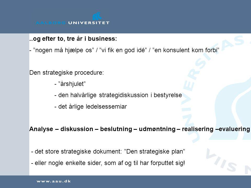 ..og efter to, tre år i business: - nogen må hjælpe os / vi fik en god idé / en konsulent kom forbi Den strategiske procedure: - årshjulet - den halvårlige strategidiskussion i bestyrelse - det årlige ledelsessemiar Analyse – diskussion – beslutning – udmøntning – realisering –evaluering - det store strategiske dokument: Den strategiske plan - eller nogle enkelte sider, som af og til har forputtet sig!