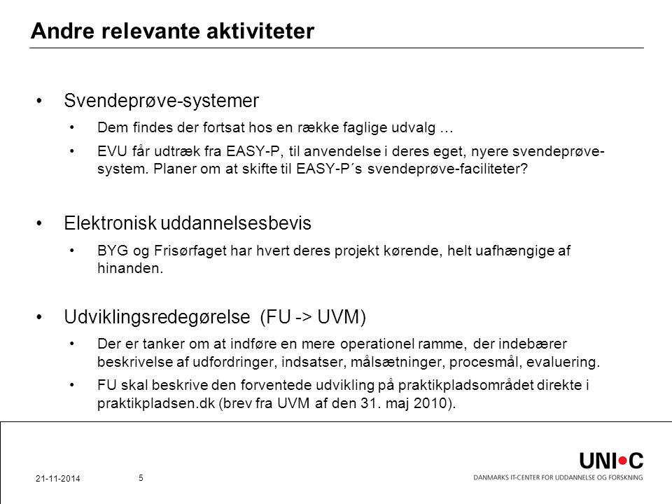 Andre relevante aktiviteter Svendeprøve-systemer Dem findes der fortsat hos en række faglige udvalg … EVU får udtræk fra EASY-P, til anvendelse i deres eget, nyere svendeprøve- system.