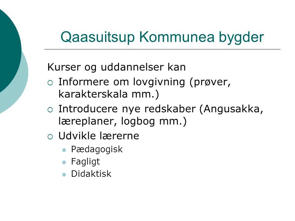 Qaasuitsup Kommunea bygder Kurser og uddannelser kan  Informere om lovgivning (prøver, karakterskala mm.)  Introducere nye redskaber (Angusakka, læreplaner, logbog mm.)  Udvikle lærerne Pædagogisk Fagligt Didaktisk