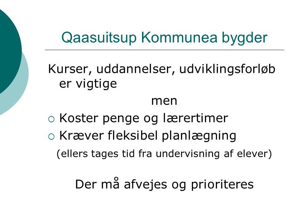 Qaasuitsup Kommunea bygder Kurser, uddannelser, udviklingsforløb er vigtige men  Koster penge og lærertimer  Kræver fleksibel planlægning (ellers tages tid fra undervisning af elever) Der må afvejes og prioriteres