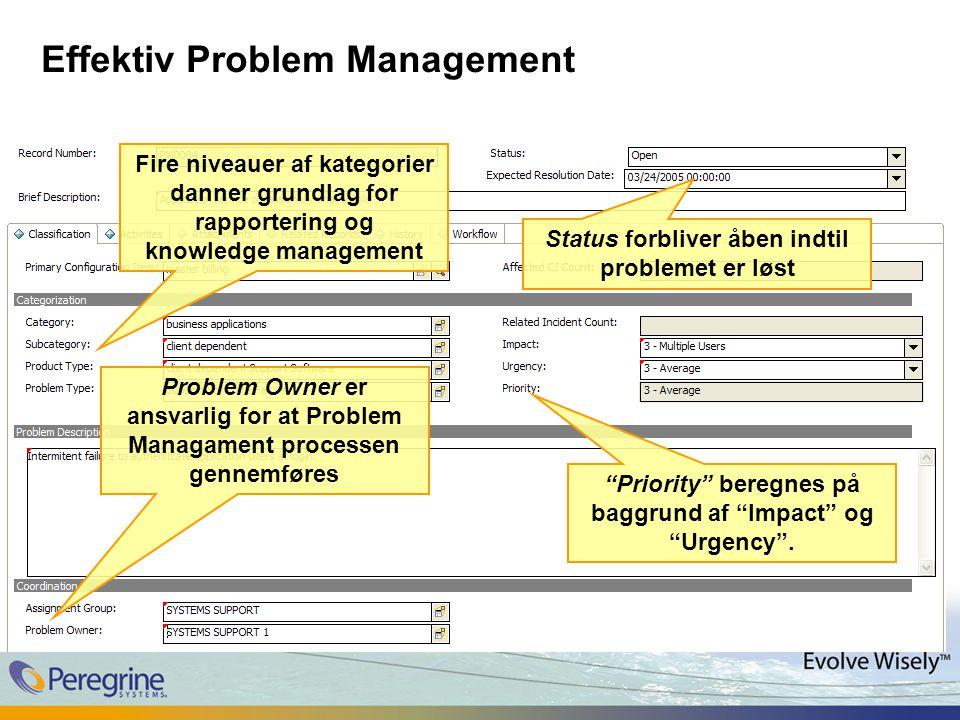 Effektiv Problem Management Status forbliver åben indtil problemet er løst Fire niveauer af kategorier danner grundlag for rapportering og knowledge management Priority beregnes på baggrund af Impact og Urgency .