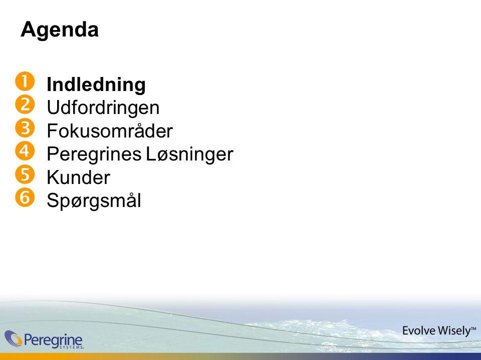 Agenda  Indledning  Udfordringen  Fokusområder  Peregrines Løsninger  Kunder  Spørgsmål