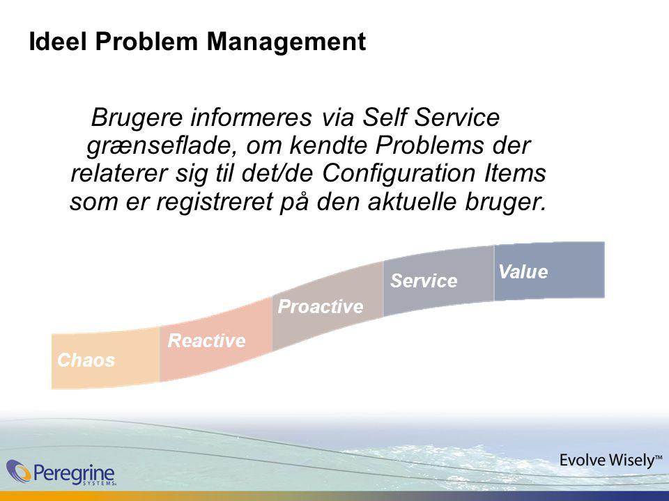 Ideel Problem Management Brugere informeres via Self Service grænseflade, om kendte Problems der relaterer sig til det/de Configuration Items som er registreret på den aktuelle bruger.