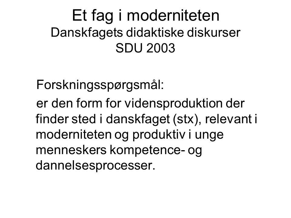 Et fag i moderniteten Danskfagets didaktiske diskurser SDU 2003 Forskningsspørgsmål: er den form for vidensproduktion der finder sted i danskfaget (stx), relevant i moderniteten og produktiv i unge menneskers kompetence- og dannelsesprocesser.