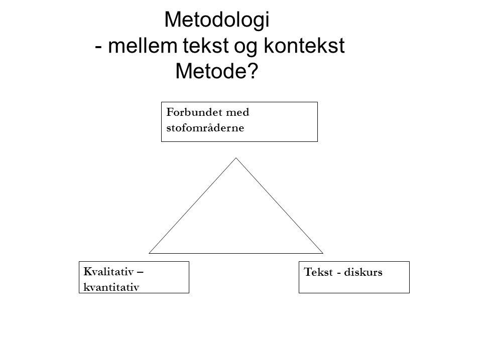 Metodologi - mellem tekst og kontekst Metode.