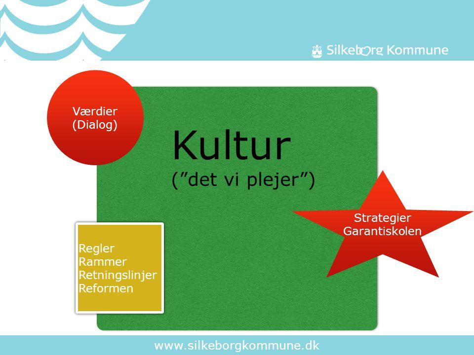 www.silkeborgkommune.dk Regler Rammer Retningslinjer Reformen Regler Rammer Retningslinjer Reformen Strategier Garantiskolen Værdier (Dialog) Kultur ( det vi plejer )