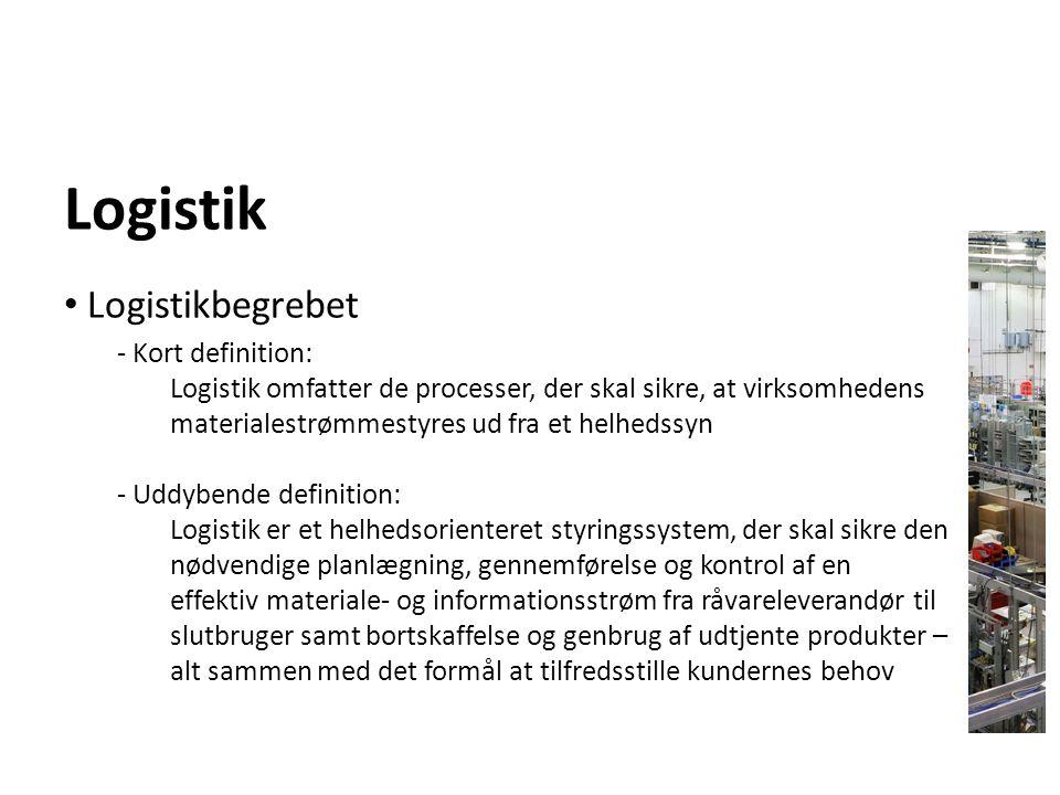 Logistik Logistikbegrebet - Kort definition: Logistik omfatter de processer, der skal sikre, at virksomhedens materialestrømmestyres ud fra et helheds