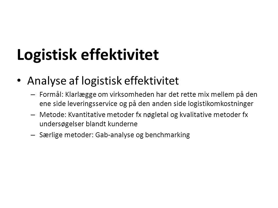 Logistisk effektivitet Analyse af logistisk effektivitet – Formål: Klarlægge om virksomheden har det rette mix mellem på den ene side leveringsservice