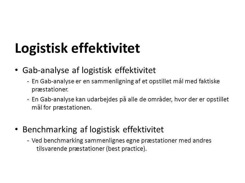 Logistisk effektivitet Gab-analyse af logistisk effektivitet - En Gab-analyse er en sammenligning af et opstillet mål med faktiske præstationer. - En